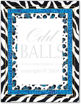 A great animal print paper that is perfect for any party.  This laser party is designed with zebra print bordered and has a blue inner border with various animal print designs. This